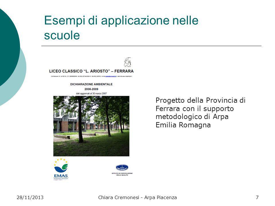 28/11/2013Chiara Cremonesi - Arpa Piacenza7 Esempi di applicazione nelle scuole Progetto della Provincia di Ferrara con il supporto metodologico di Ar