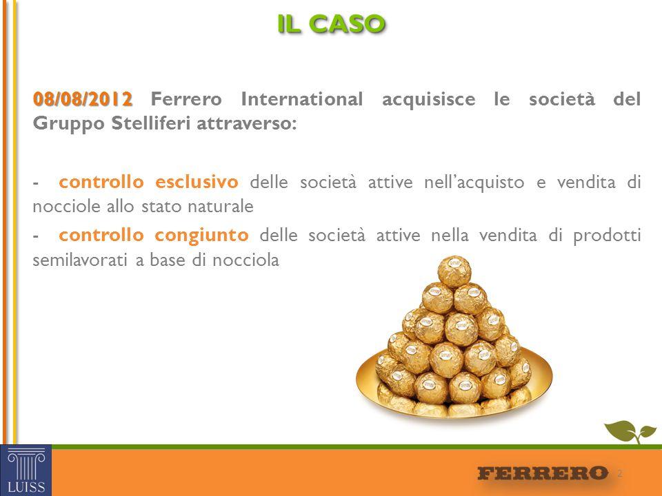 08/08/2012 08/08/2012 Ferrero International acquisisce le società del Gruppo Stelliferi attraverso: -controllo esclusivo delle società attive nell'acq
