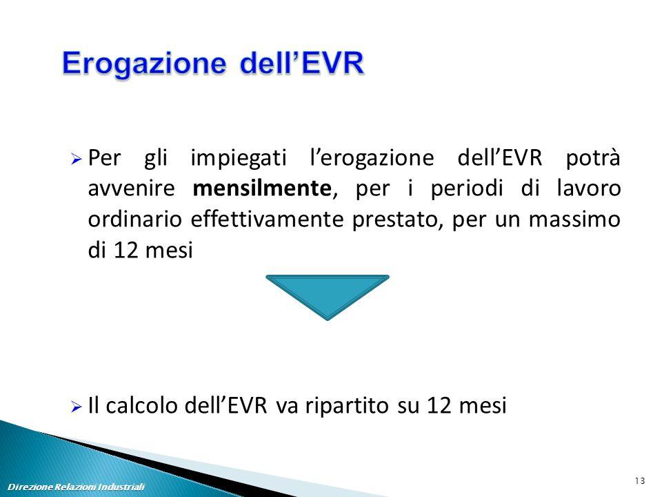  Per gli impiegati l'erogazione dell'EVR potrà avvenire mensilmente, per i periodi di lavoro ordinario effettivamente prestato, per un massimo di 12 mesi  Il calcolo dell'EVR va ripartito su 12 mesi Direzione Relazioni Industriali 13
