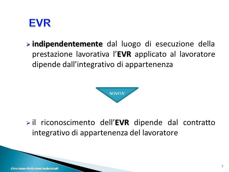  indipendentemente EVR  indipendentemente dal luogo di esecuzione della prestazione lavorativa l'EVR applicato al lavoratore dipende dall'integrativo di appartenenza EVR  il riconoscimento dell'EVR dipende dal contratto integrativo di appartenenza del lavoratore NOVITA' Direzione Relazioni Industriali 7