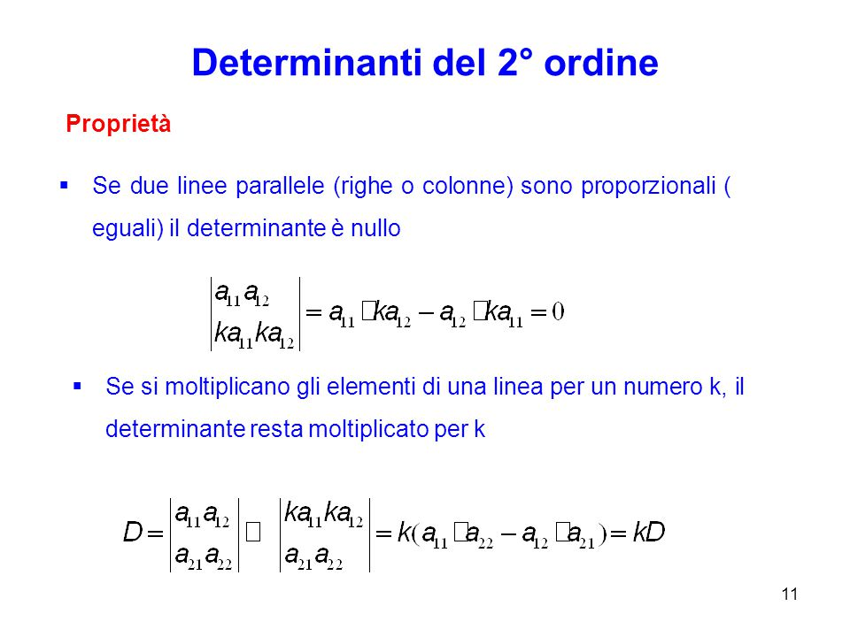 Determinanti del 2° ordine 11 Proprietà  Se due linee parallele (righe o colonne) sono proporzionali ( eguali) il determinante è nullo  Se si moltiplicano gli elementi di una linea per un numero k, il determinante resta moltiplicato per k