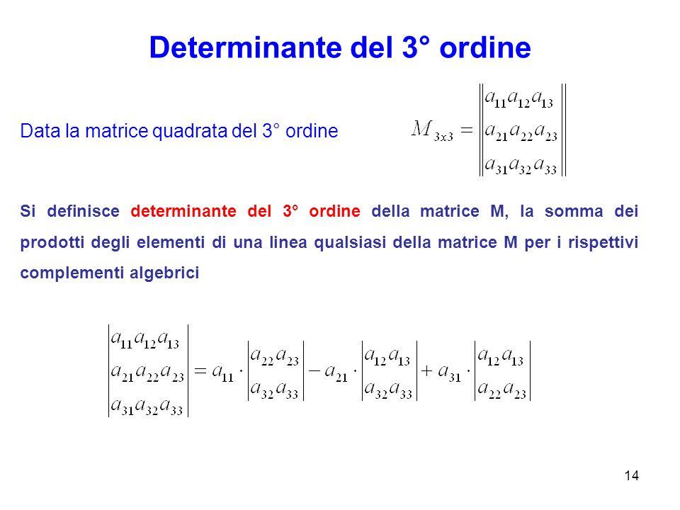 Determinante del 3° ordine 14 Data la matrice quadrata del 3° ordine Si definisce determinante del 3° ordine della matrice M, la somma dei prodotti degli elementi di una linea qualsiasi della matrice M per i rispettivi complementi algebrici