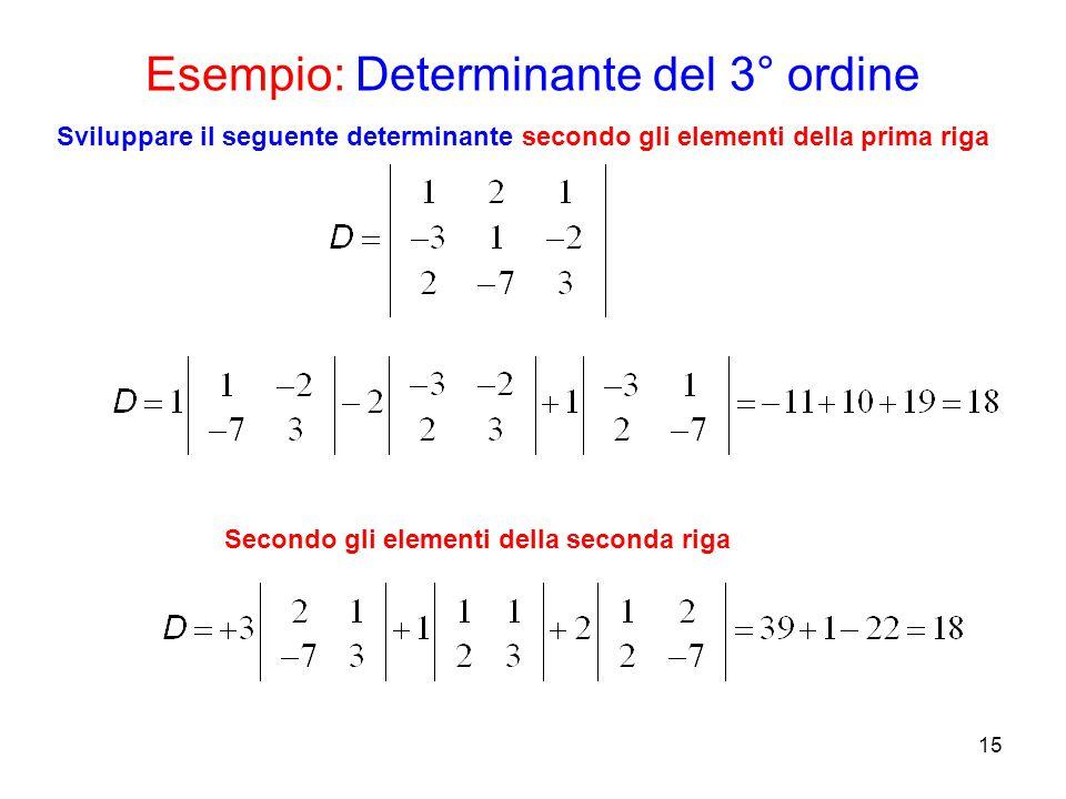 Esempio: Determinante del 3° ordine 15 Sviluppare il seguente determinante secondo gli elementi della prima riga Secondo gli elementi della seconda ri