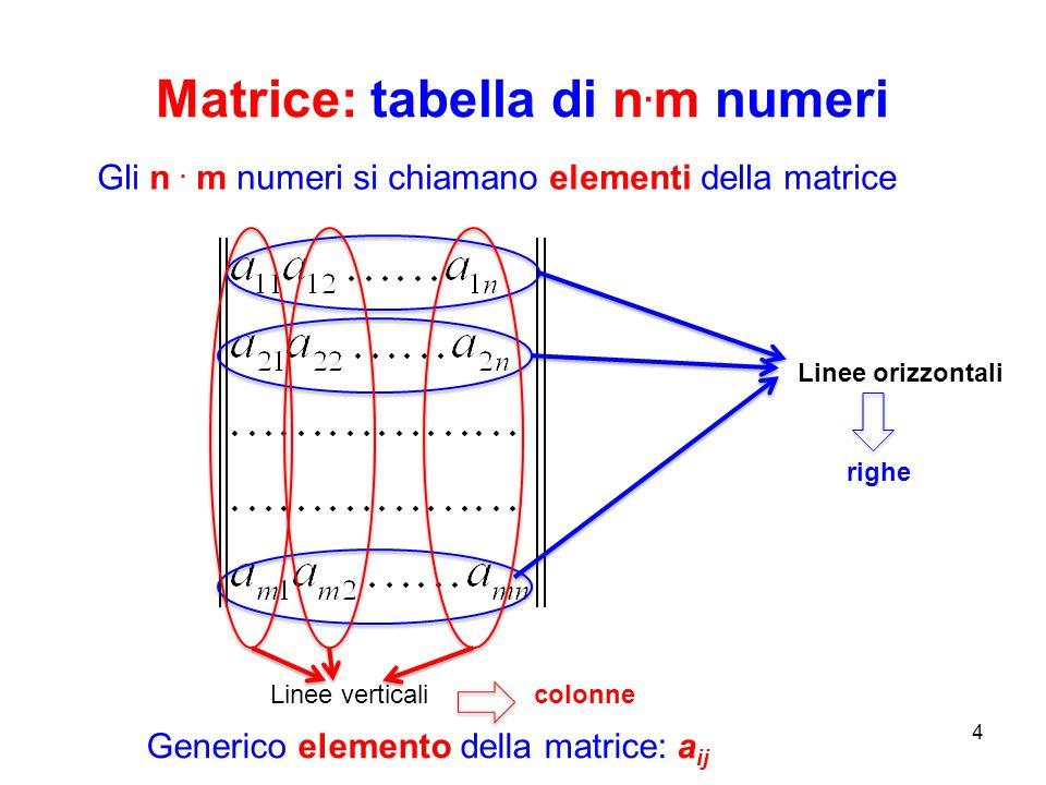 Matrice: tabella di n. m numeri 4 Gli n. m numeri si chiamano elementi della matrice Linee orizzontali Linee verticali righe colonne Generico elemento