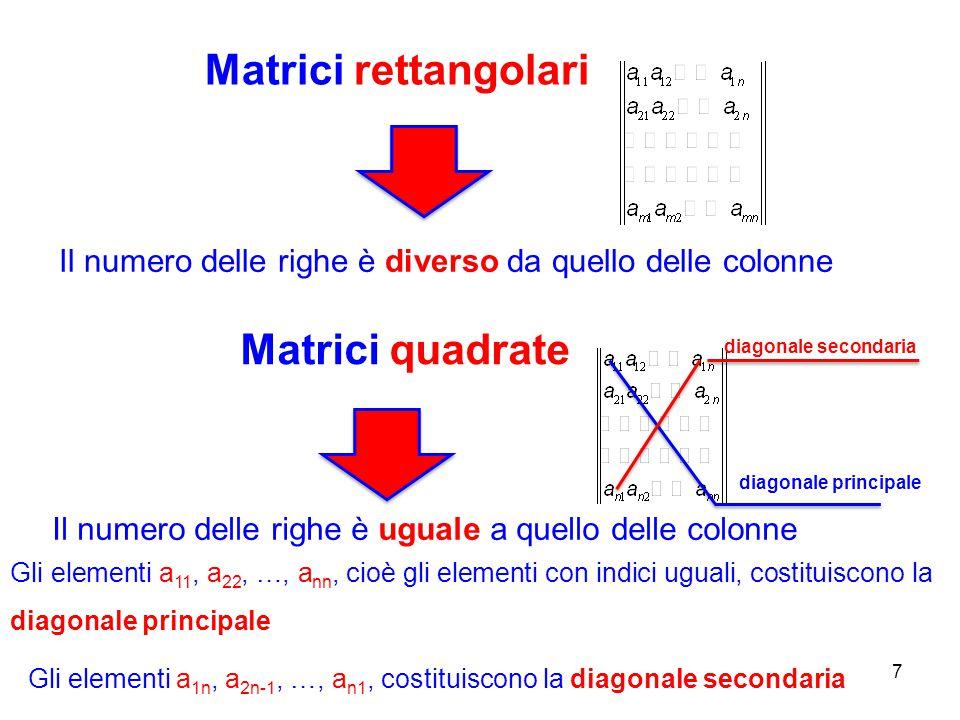 Matrici rettangolari 7 Il numero delle righe è diverso da quello delle colonne Gli elementi a 11, a 22, …, a nn, cioè gli elementi con indici uguali, costituiscono la diagonale principale Matrici quadrate Il numero delle righe è uguale a quello delle colonne Gli elementi a 1n, a 2n-1, …, a n1, costituiscono la diagonale secondaria diagonale principale diagonale secondaria
