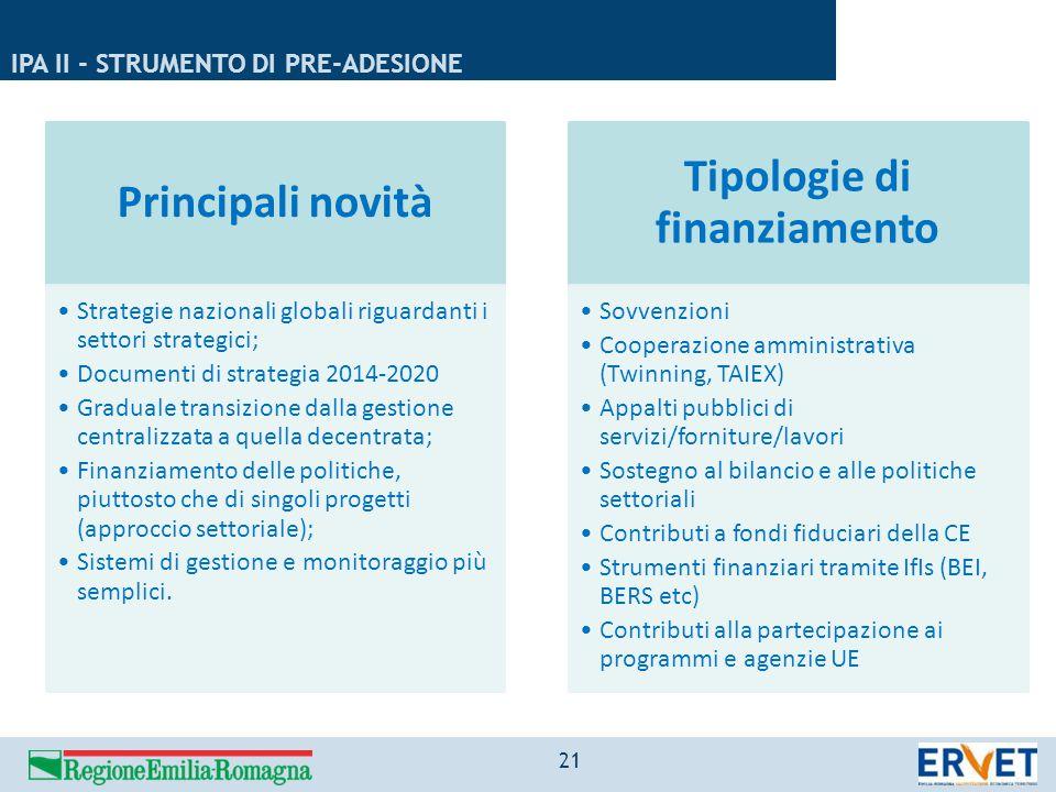 IPA II - STRUMENTO DI PRE-ADESIONE Principali novità Strategie nazionali globali riguardanti i settori strategici; Documenti di strategia 2014-2020 Gr