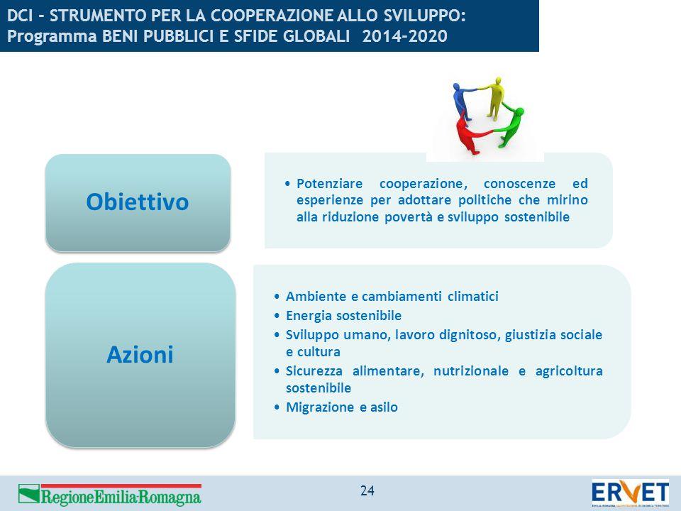 DCI - STRUMENTO PER LA COOPERAZIONE ALLO SVILUPPO: Programma BENI PUBBLICI E SFIDE GLOBALI 2014-2020 Potenziare cooperazione, conoscenze ed esperienze