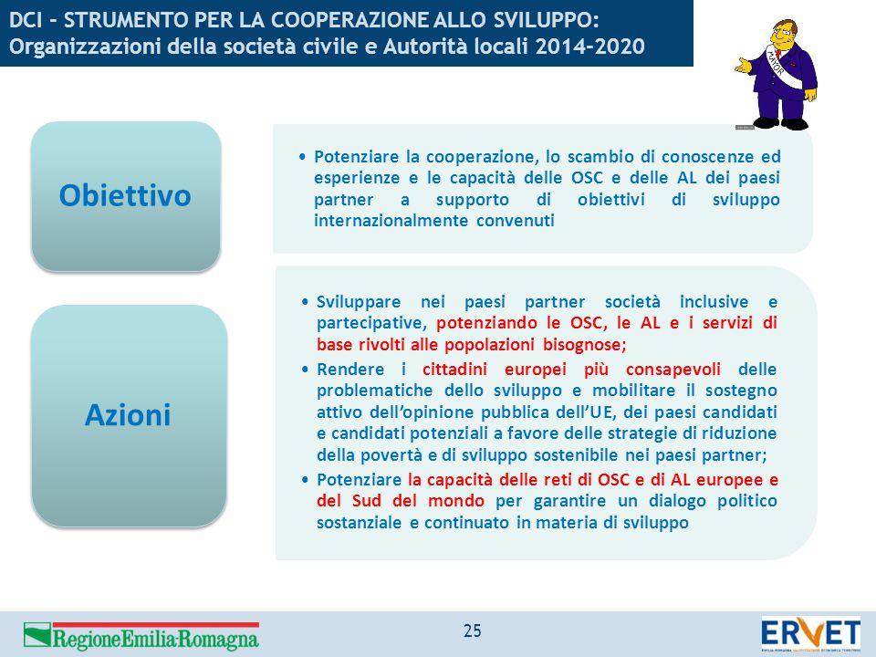 DCI - STRUMENTO PER LA COOPERAZIONE ALLO SVILUPPO: Organizzazioni della società civile e Autorità locali 2014-2020 Potenziare la cooperazione, lo scam