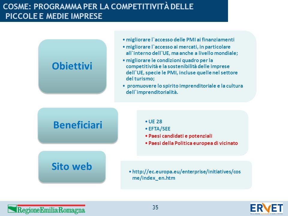 migliorare l`accesso delle PMI ai finanziamenti migliorare l`accesso ai mercati, in particolare all`interno dell`UE, ma anche a livello mondiale; migl