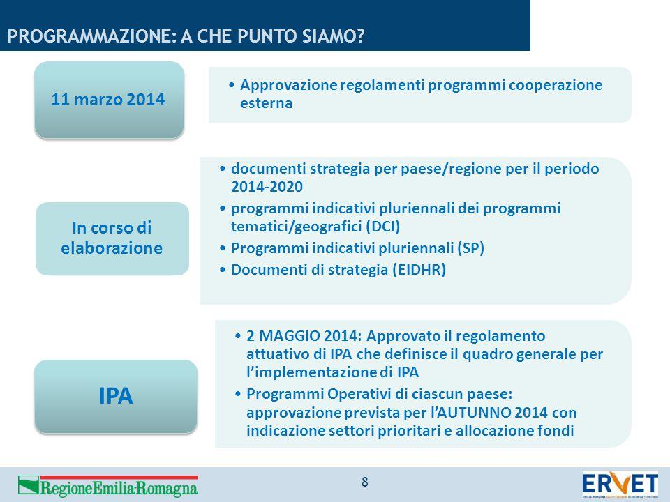 Approvazione regolamenti programmi cooperazione esterna 11 marzo 2014 documenti strategia per paese/regione per il periodo 2014-2020 programmi indicat