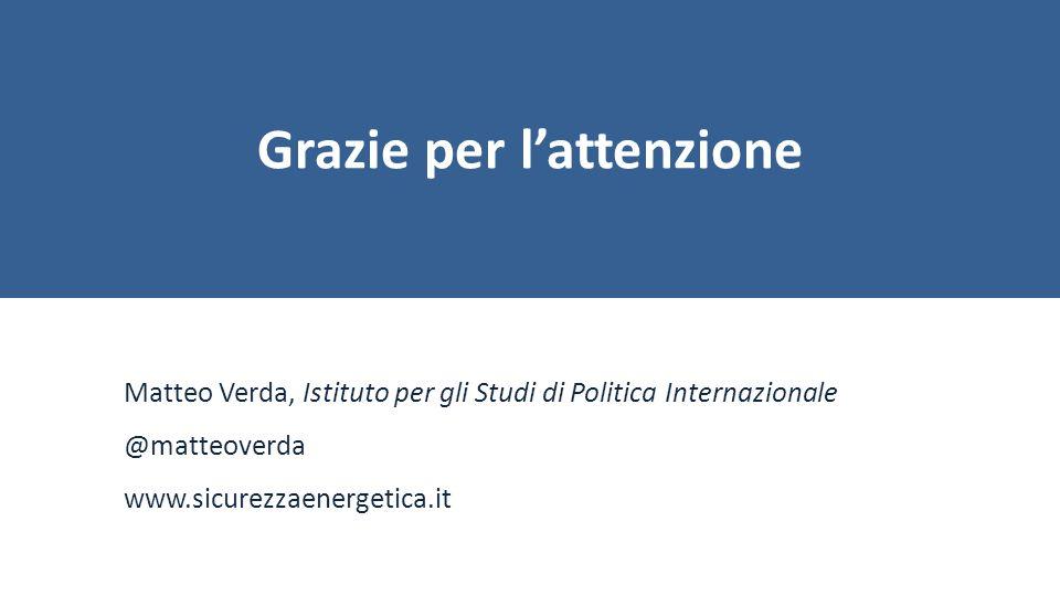 Grazie per l'attenzione Matteo Verda, Istituto per gli Studi di Politica Internazionale @matteoverda www.sicurezzaenergetica.it