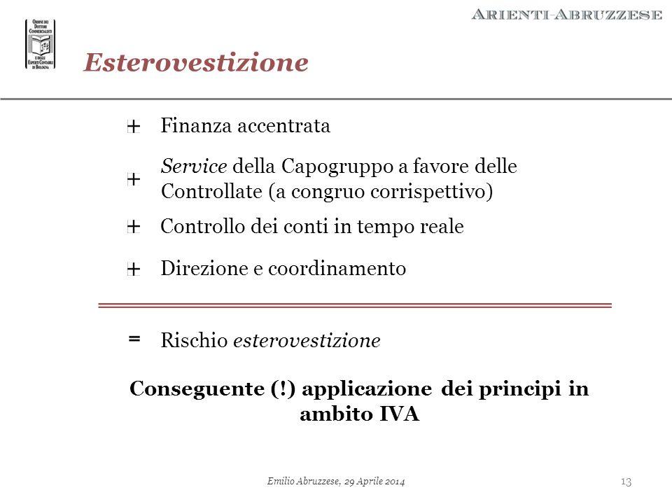 Esterovestizione Finanza accentrata Service della Capogruppo a favore delle Controllate (a congruo corrispettivo) Direzione e coordinamento Rischio es