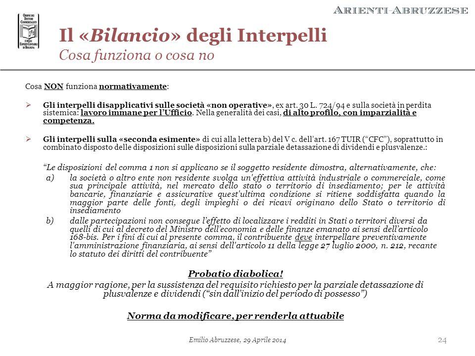 Il «Bilancio» degli Interpelli Cosa funziona o cosa no Cosa NON funziona normativamente:  Gli interpelli disapplicativi sulle società «non operative»