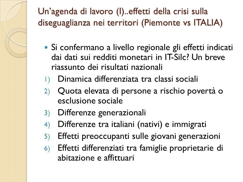 Un'agenda di lavoro (I)..effetti della crisi sulla diseguaglianza nei territori (Piemonte vs ITALIA) Si confermano a livello regionale gli effetti indicati dai dati sui redditi monetari in IT-Silc.