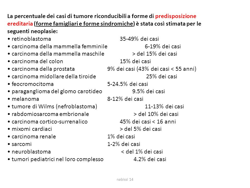 La percentuale dei casi di tumore riconducibili a forme di predisposizione ereditaria (forme famigliari e forme sindromiche) è stata così stimata per
