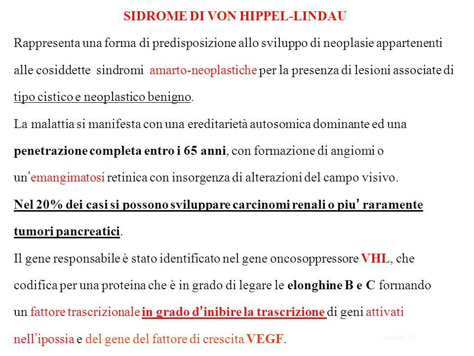 SIDROME DI VON HIPPEL-LINDAU Rappresenta una forma di predisposizione allo sviluppo di neoplasie appartenenti alle cosiddette sindromi amarto-neoplast