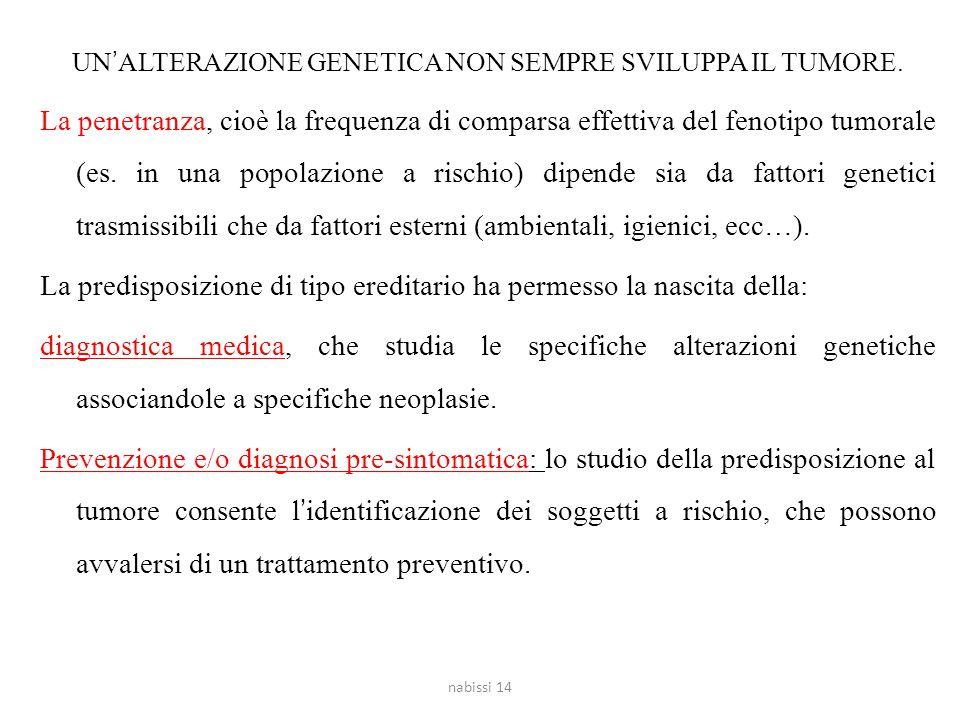 UN'ALTERAZIONE GENETICA NON SEMPRE SVILUPPA IL TUMORE. La penetranza, cioè la frequenza di comparsa effettiva del fenotipo tumorale (es. in una popola