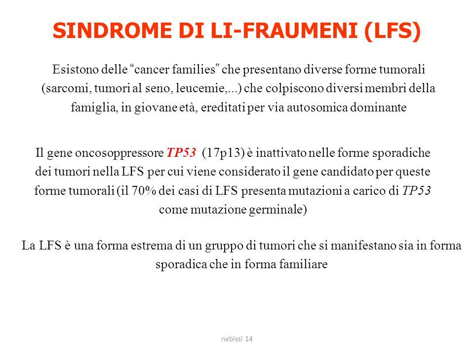 """SINDROME DI LI-FRAUMENI (LFS) Esistono delle """"cancer families"""" che presentano diverse forme tumorali (sarcomi, tumori al seno, leucemie,...) che colpi"""