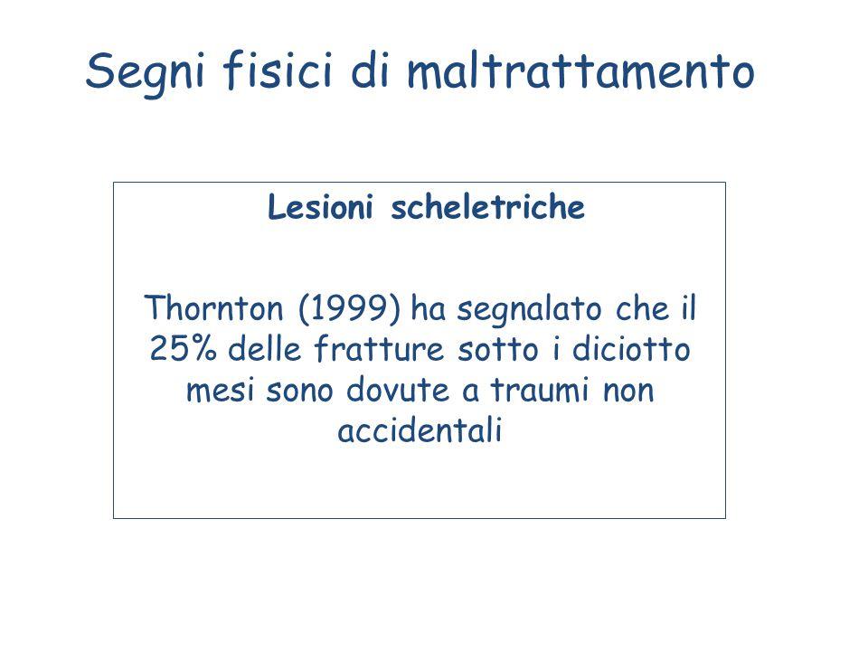 Segni fisici di maltrattamento Lesioni scheletriche Thornton (1999) ha segnalato che il 25% delle fratture sotto i diciotto mesi sono dovute a traumi non accidentali