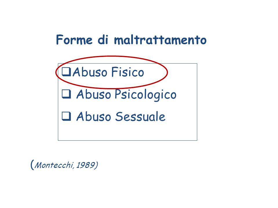 Forme di maltrattamento  Abuso Fisico  Abuso Psicologico  Abuso Sessuale ( Montecchi, 1989)