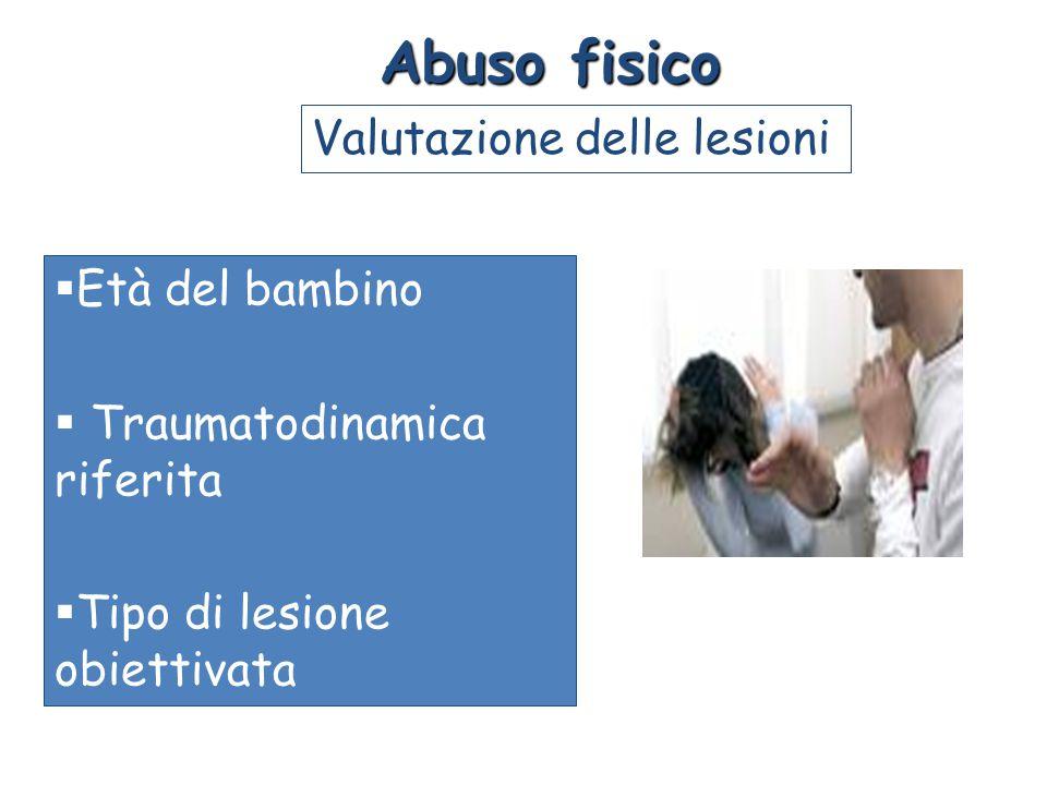  Età del bambino  Traumatodinamica riferita  Tipo di lesione obiettivata Abuso fisico Valutazione delle lesioni