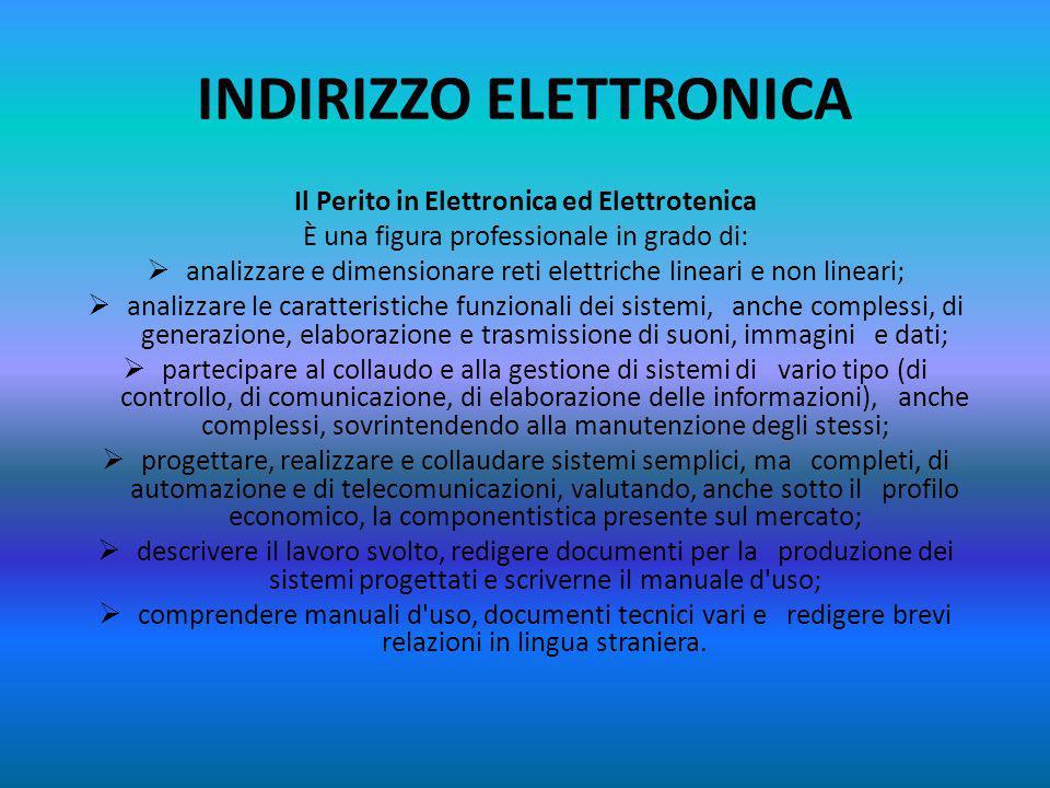 INDIRIZZO INFORMATICA Il Perito in Informatica e Telecomunicazioni È una figura professionale che:  ha competenze specifiche nel campo dei sistemi in