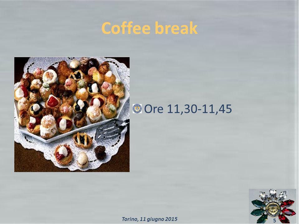 Coffee break Ore 11,30-11,45 5 Torino, 11 giugno 2015