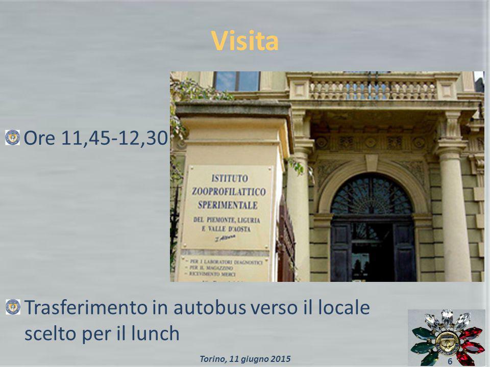 Visita 6 Ore 11,45-12,30 Trasferimento in autobus verso il locale scelto per il lunch Torino, 11 giugno 2015