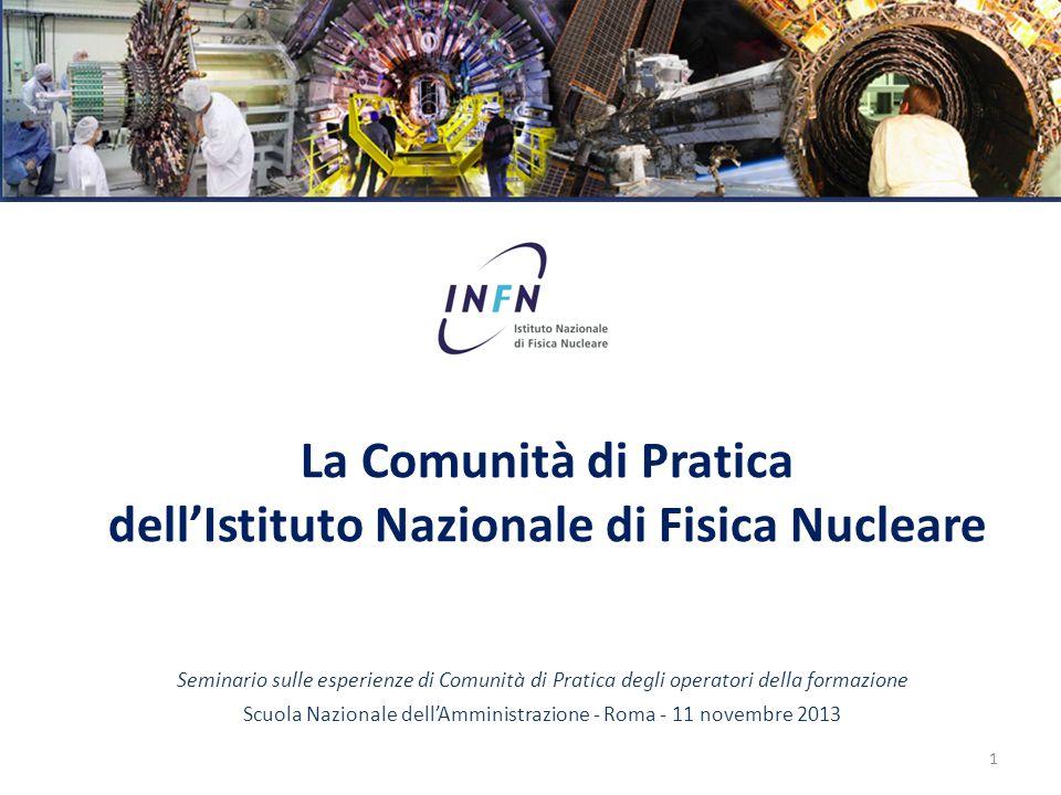 La Comunità di Pratica dell'Istituto Nazionale di Fisica Nucleare Seminario sulle esperienze di Comunità di Pratica degli operatori della formazione S