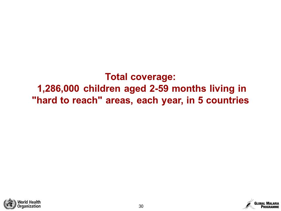 30 Total coverage: 1,286,000 children aged 2-59 months living in hard to reach areas, each year, in 5 countries