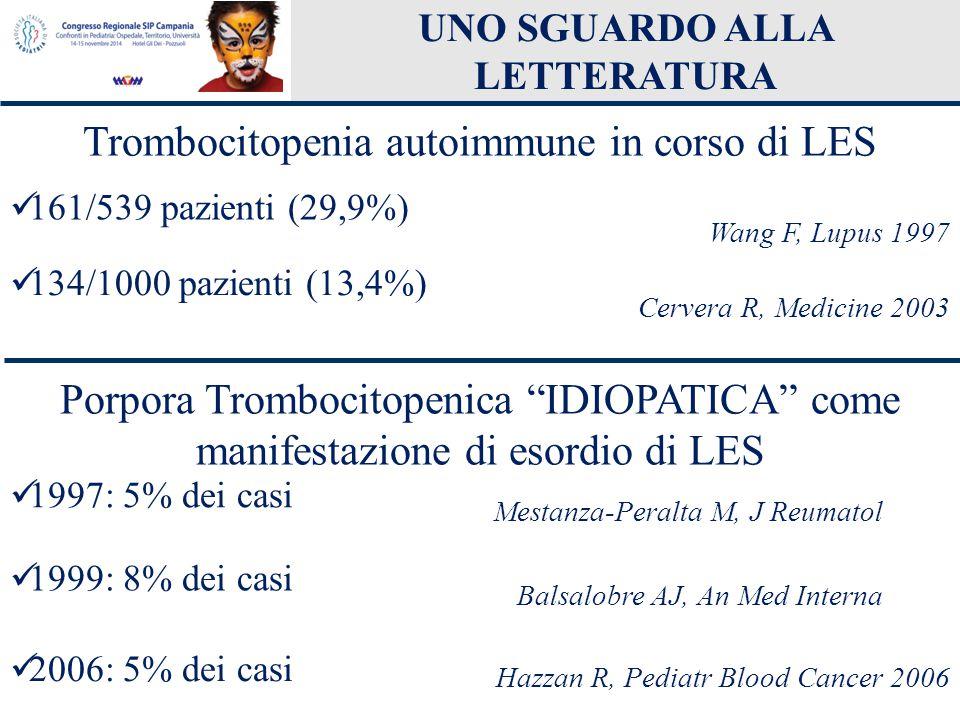 UNO SGUARDO ALLA LETTERATURA Trombocitopenia autoimmune in corso di LES 134/1000 pazienti (13,4%) Cervera R, Medicine 2003 161/539 pazienti (29,9%) Wa