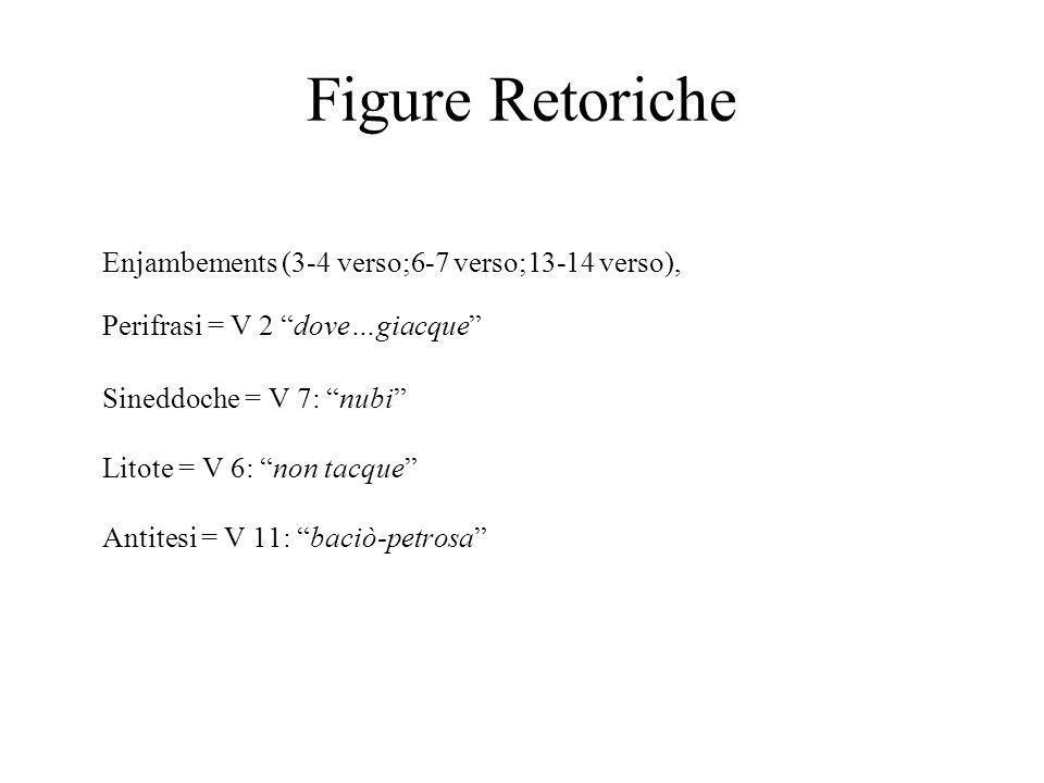 "Figure Retoriche Enjambements (3-4 verso;6-7 verso;13-14 verso), Perifrasi = V 2 ""dove…giacque"" Sineddoche = V 7: ""nubi"" Litote = V 6: ""non tacque"" An"