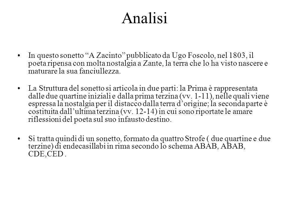 """Analisi In questo sonetto """"A Zacinto"""" pubblicato da Ugo Foscolo, nel 1803, il poeta ripensa con molta nostalgia a Zante, la terra che lo ha visto nasc"""