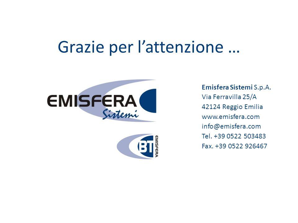 Grazie per l'attenzione … Emisfera Sistemi S.p.A. Via Ferravilla 25/A 42124 Reggio Emilia www.emisfera.com info@emisfera.com Tel. +39 0522 503483 Fax.