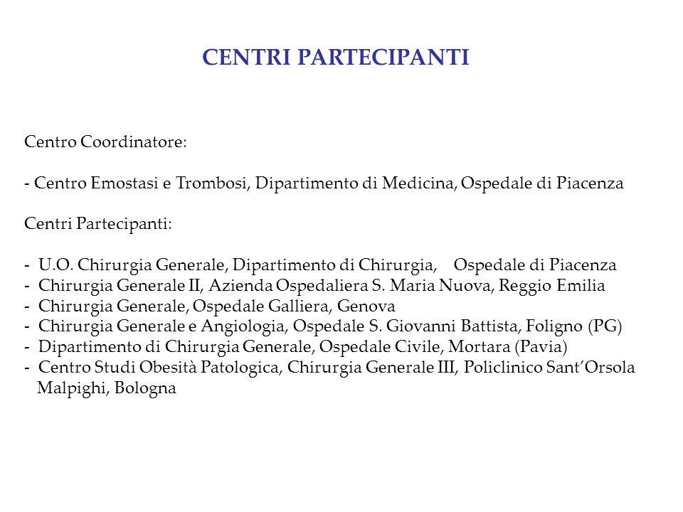 Centro Coordinatore: - Centro Emostasi e Trombosi, Dipartimento di Medicina, Ospedale di Piacenza Centri Partecipanti: - U.O. Chirurgia Generale, Dipa