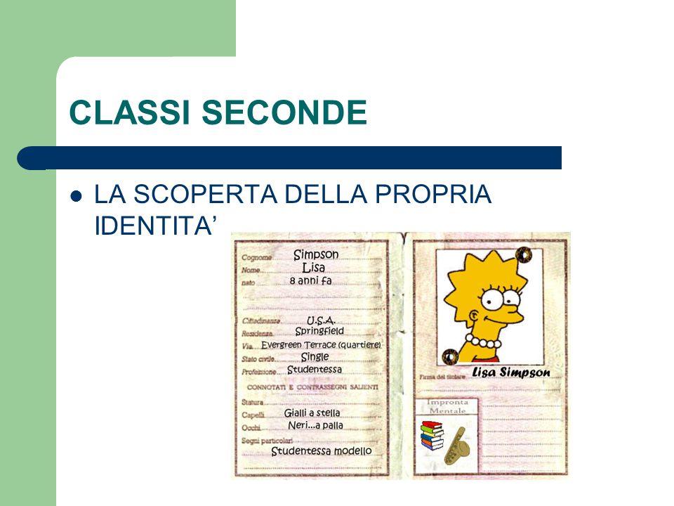 CLASSI SECONDE LA SCOPERTA DELLA PROPRIA IDENTITA'