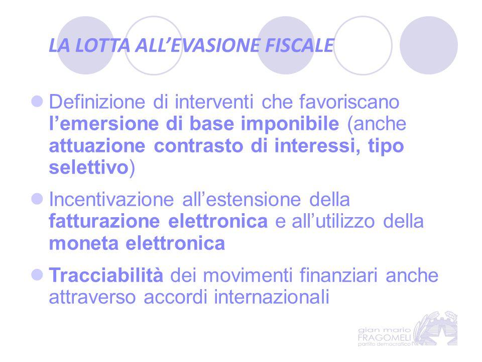 LA LOTTA ALL'EVASIONE FISCALE Definizione di interventi che favoriscano l'emersione di base imponibile (anche attuazione contrasto di interessi, tipo