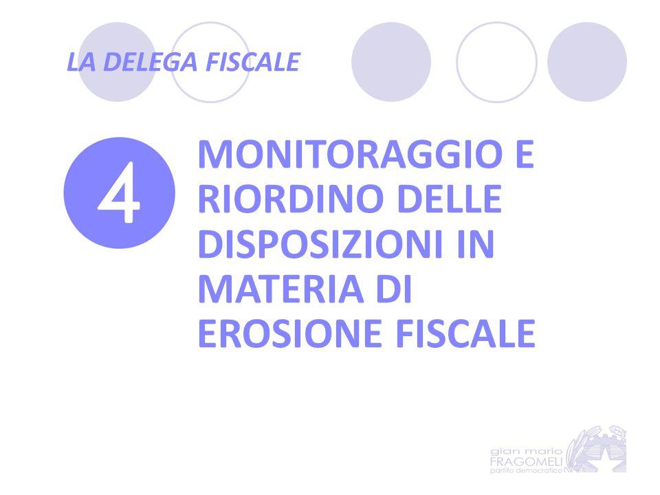 LA DELEGA FISCALE MONITORAGGIO E RIORDINO DELLE DISPOSIZIONI IN MATERIA DI EROSIONE FISCALE