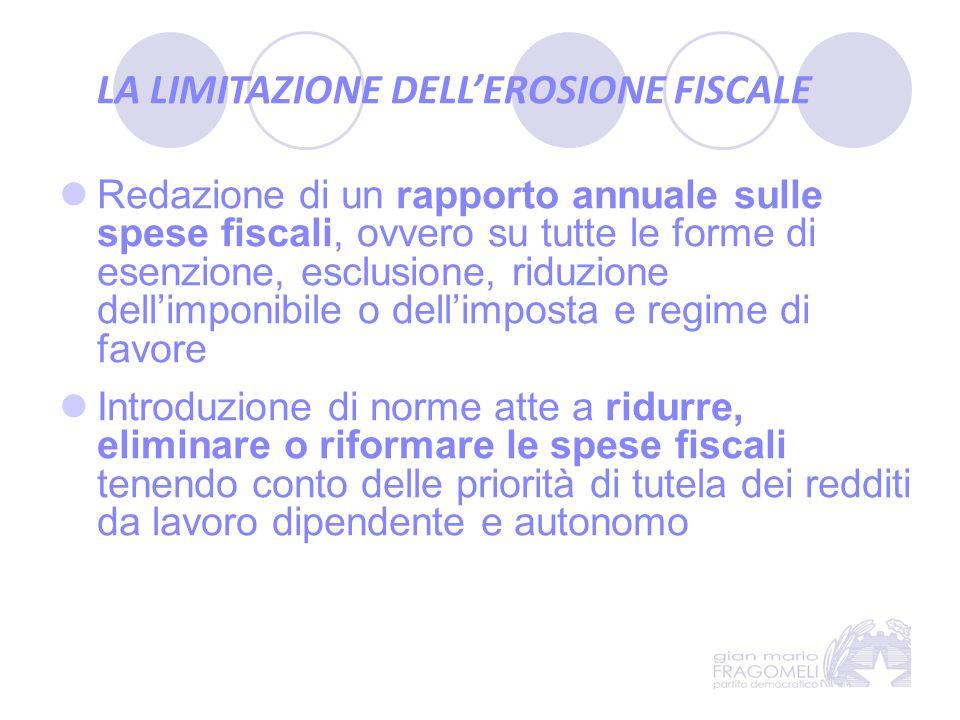 LA LIMITAZIONE DELL'EROSIONE FISCALE Redazione di un rapporto annuale sulle spese fiscali, ovvero su tutte le forme di esenzione, esclusione, riduzion