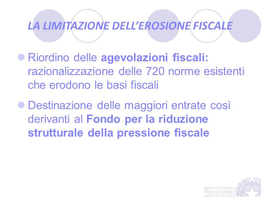 LA LIMITAZIONE DELL'EROSIONE FISCALE Riordino delle agevolazioni fiscali: razionalizzazione delle 720 norme esistenti che erodono le basi fiscali Dest