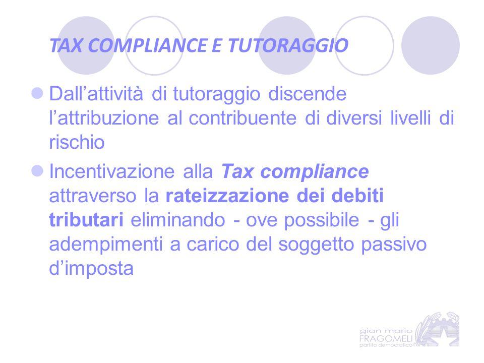 TAX COMPLIANCE E TUTORAGGIO Dall'attività di tutoraggio discende l'attribuzione al contribuente di diversi livelli di rischio Incentivazione alla Tax