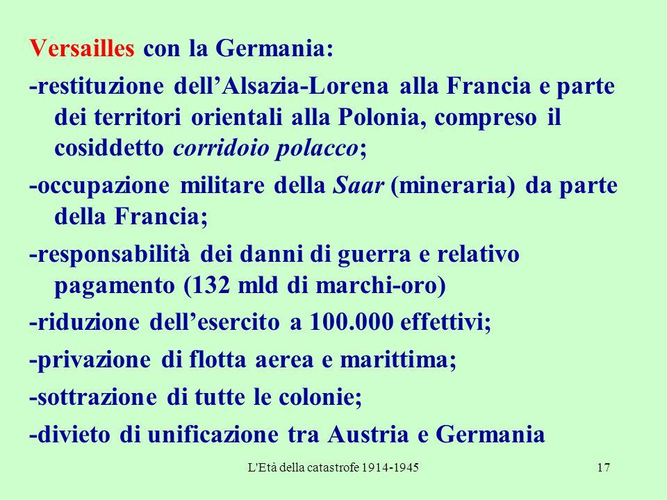 L'Età della catastrofe 1914-194517 Versailles con la Germania: -restituzione dell'Alsazia-Lorena alla Francia e parte dei territori orientali alla Pol