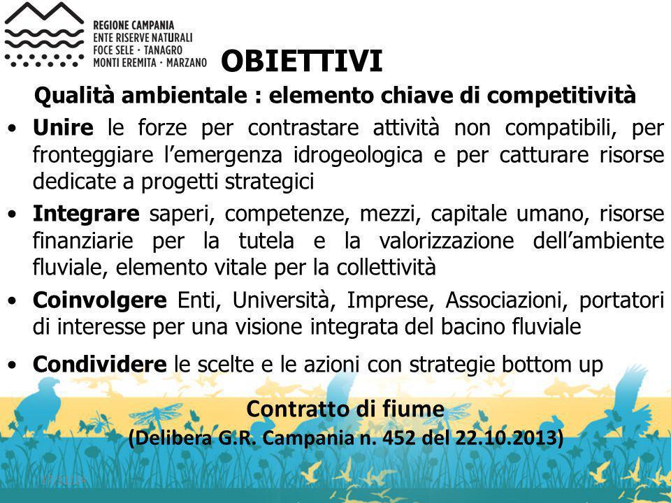 17/11/14 OBIETTIVI Qualità ambientale : elemento chiave di competitività Unire le forze per contrastare attività non compatibili, per fronteggiare l'e