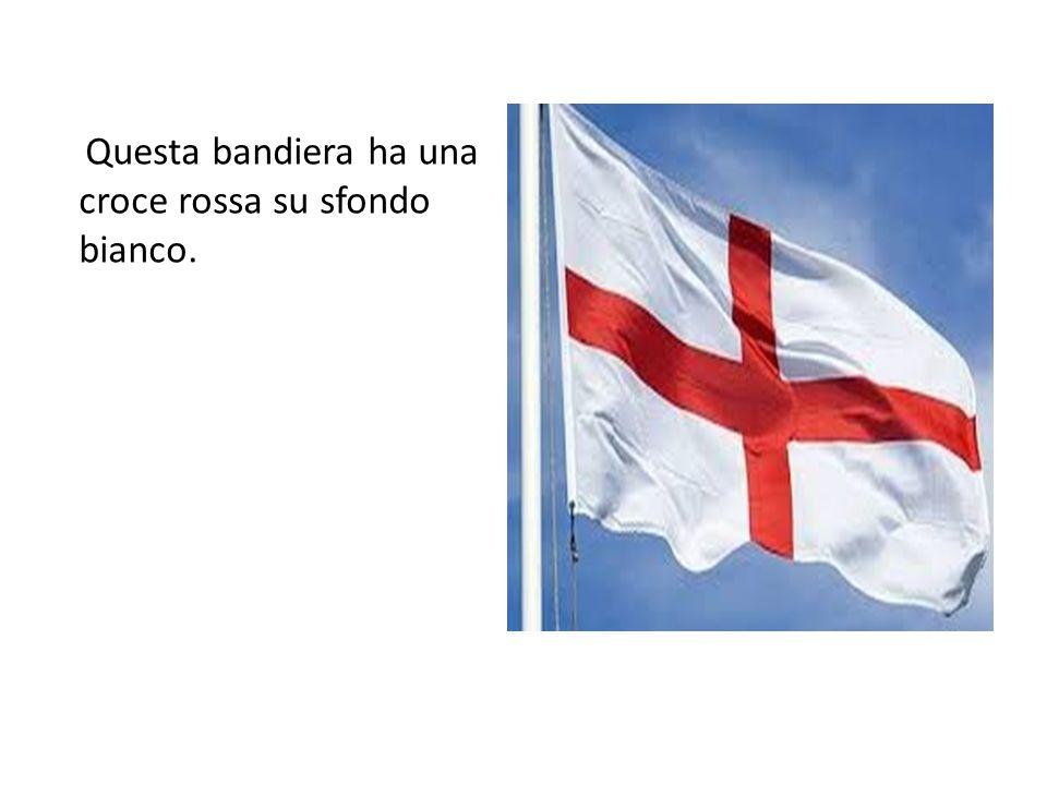 Questa bandiera ha una croce rossa su sfondo bianco.