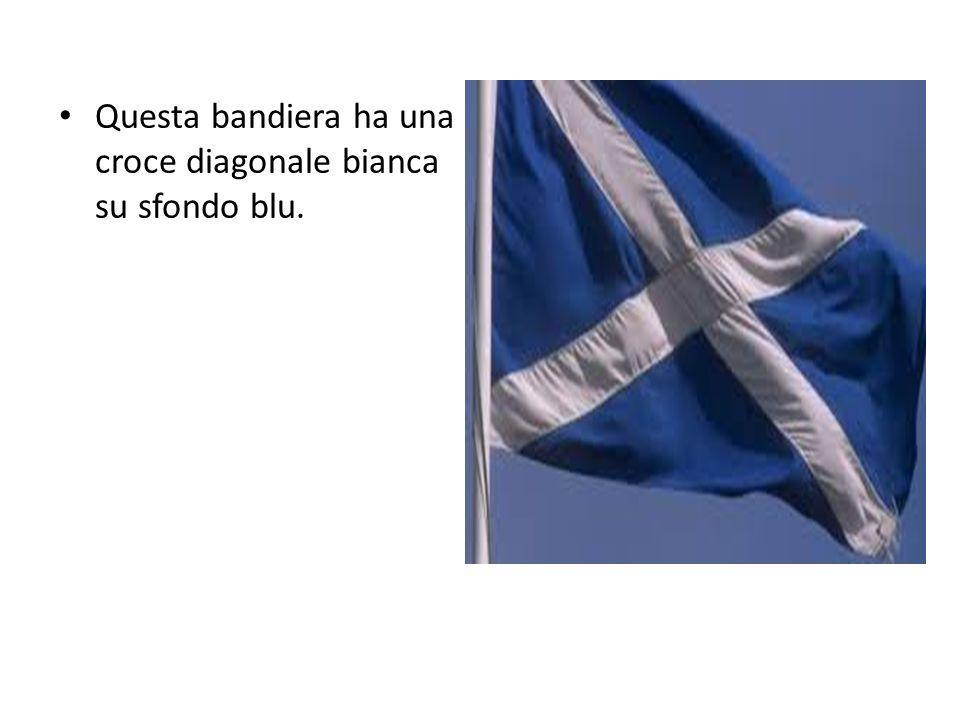 Questa bandiera ha una croce diagonale bianca su sfondo blu.