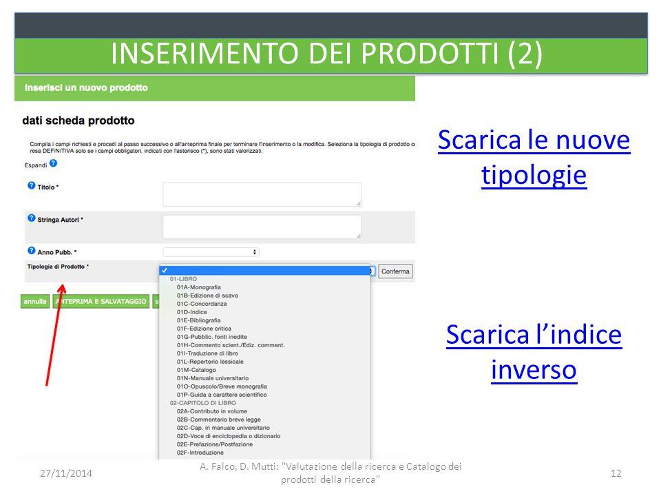 INSERIMENTO DEI PRODOTTI (2) Scarica l'indice inverso Scarica le nuove tipologie A. Falco, D. Mutti: