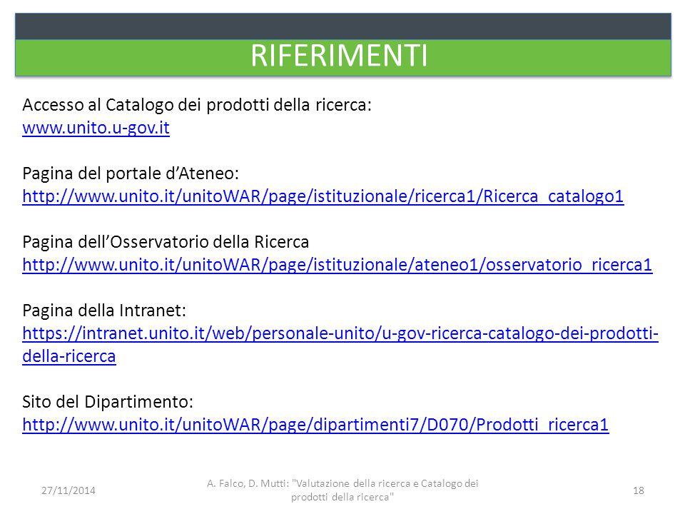 RIFERIMENTI Accesso al Catalogo dei prodotti della ricerca: www.unito.u-gov.it Pagina del portale d'Ateneo: http://www.unito.it/unitoWAR/page/istituzi
