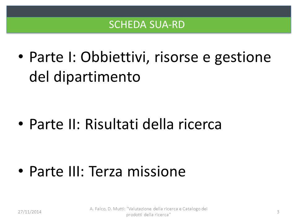 SCHEDA SUA-RD Parte I: Obbiettivi, risorse e gestione del dipartimento Parte II: Risultati della ricerca Parte III: Terza missione A. Falco, D. Mutti: