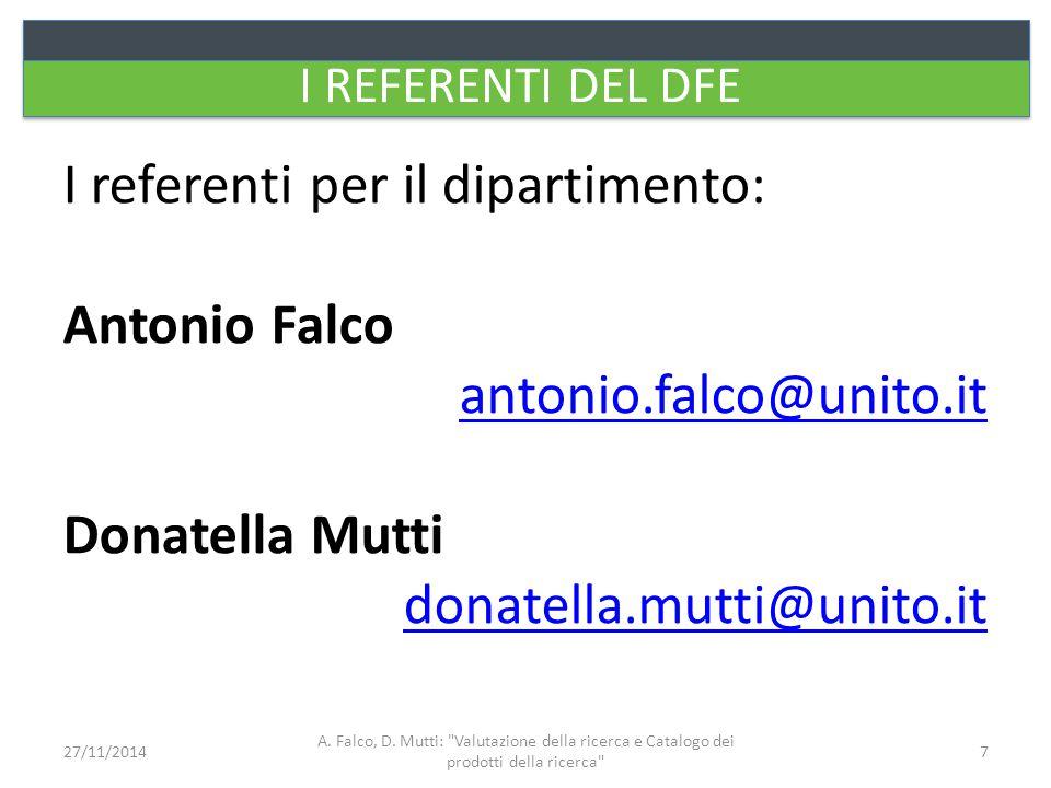 STATO DEI PRODOTTI Provvisorio Definitivo A.Falco, D.