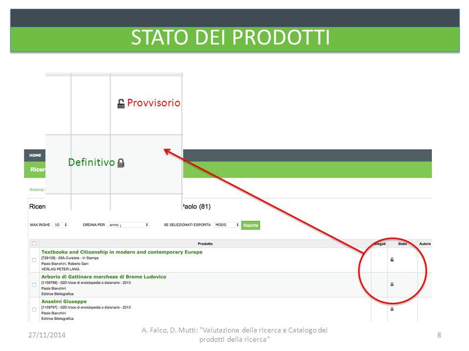 STATO DEI PRODOTTI Provvisorio Definitivo A. Falco, D. Mutti:
